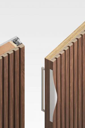 Скрытая дверь с декоративными рейками - открыто